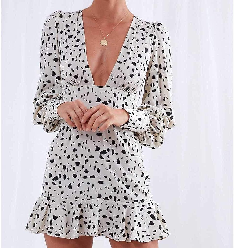 PLOT Falda Vestido Jumpsuit Mini Vestido Sexy con Volante, Cuello ...