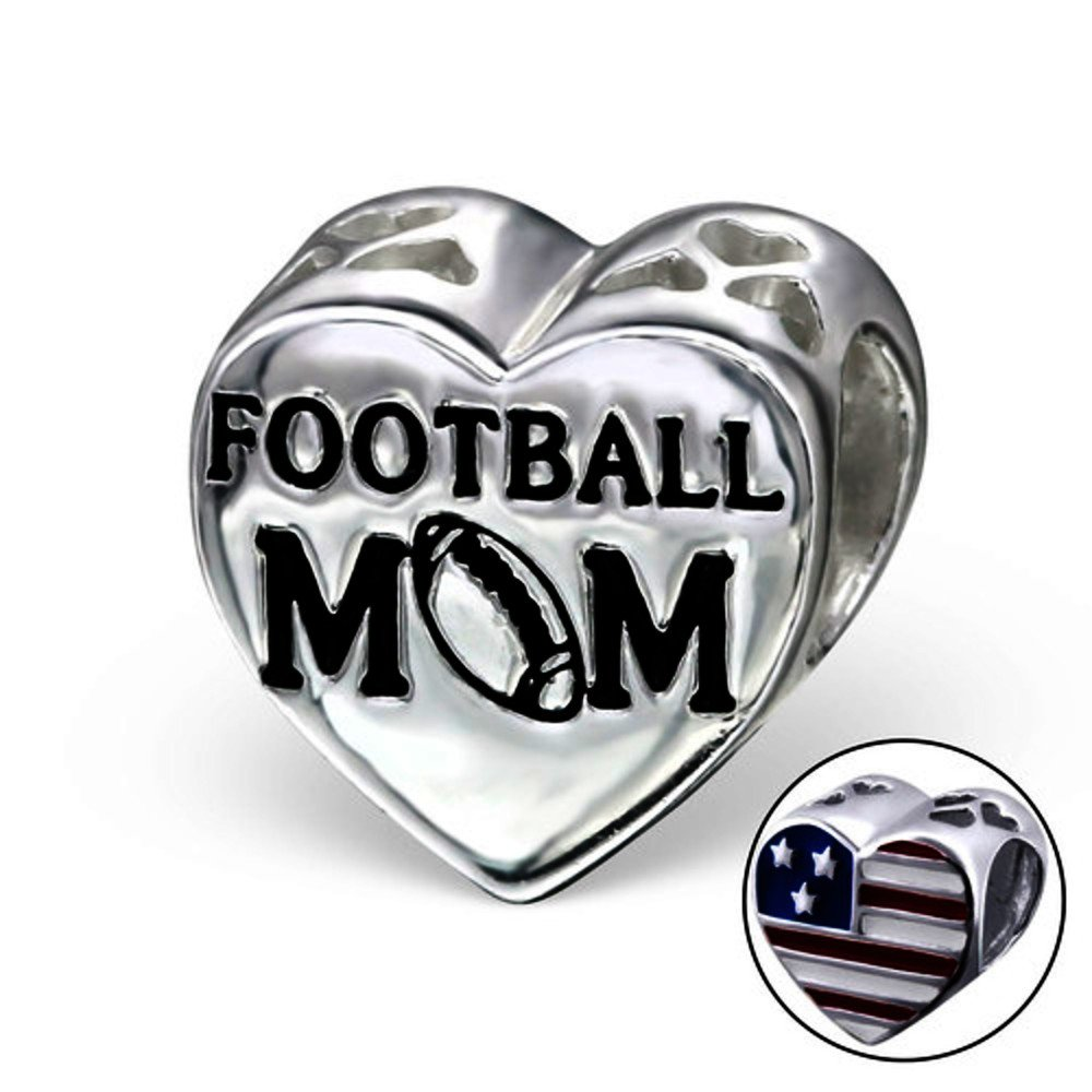 925 Sterling Silver 11x11mm Heart Football Mom Plain Beads