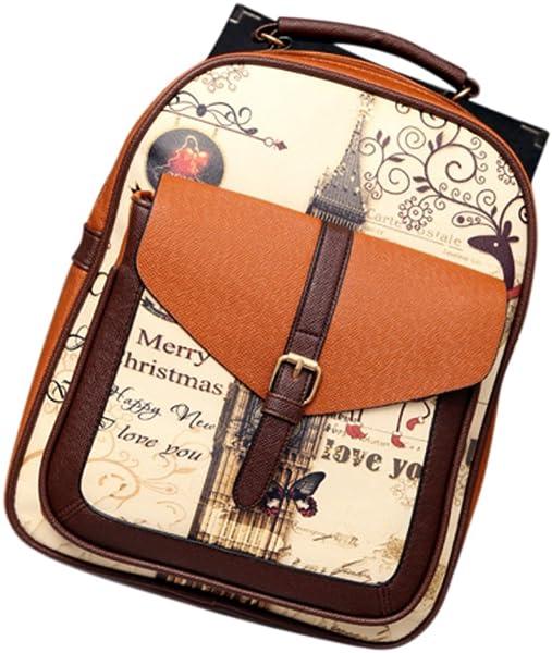 Amazon.com: ShiningLove New Fashion Printing Leather Backpack Stitching Belt Buckle Teenagers Shoulder Bag Lady Girls Schoolbag Satchel Mochila Brown: Shoes