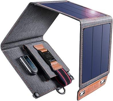 CHOETECH Cargador Solar, 14W Panel Solar Cargador Portátil Ligero Impermeable Placa Solar Power Bank Compatible con Teléfonos Samsung, iPhone, ...