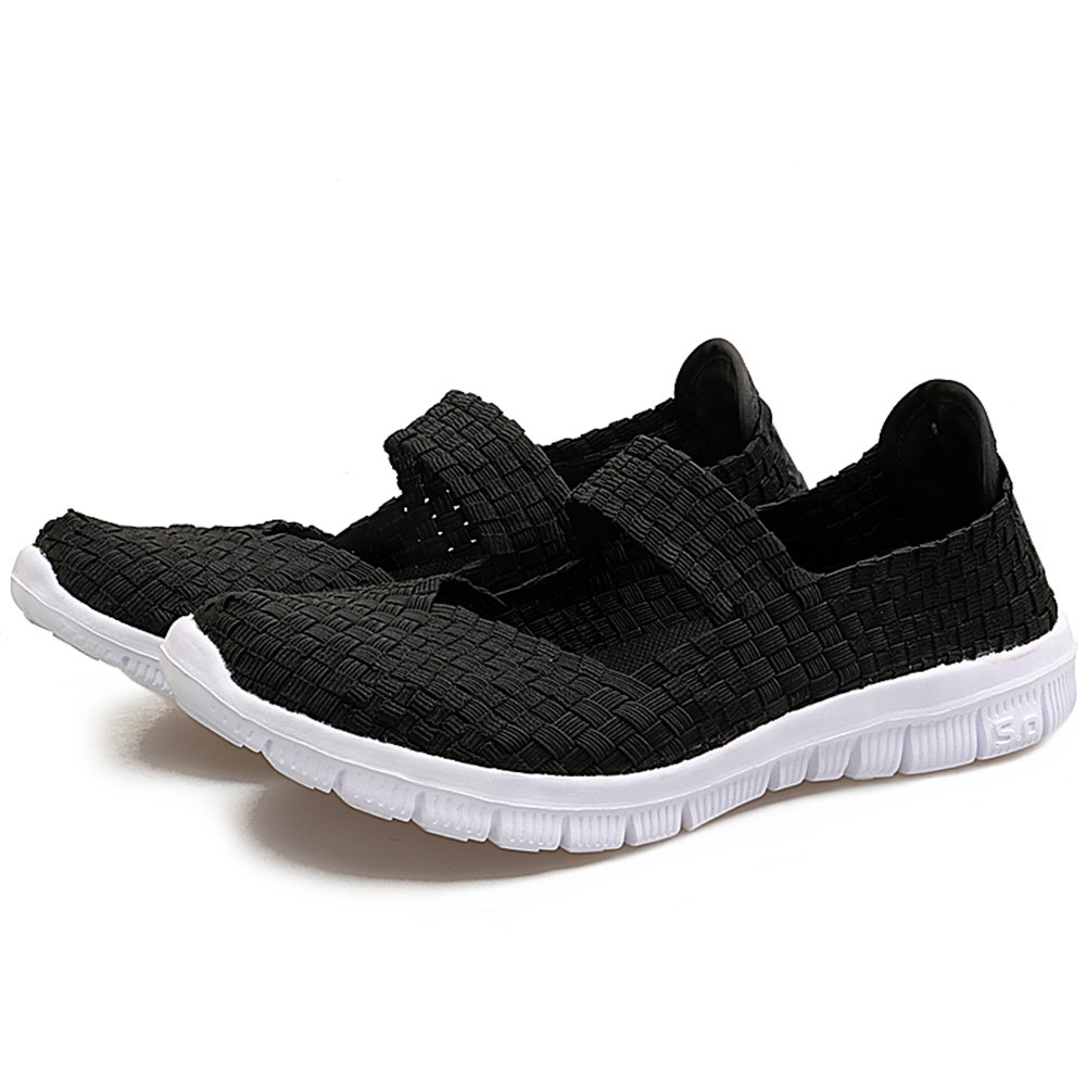 YMY Women's Woven Sneakers Casual Lightweight Sneakers - Breathable Running Shoes B07DXDW94J US B(M) 5 Women|Black