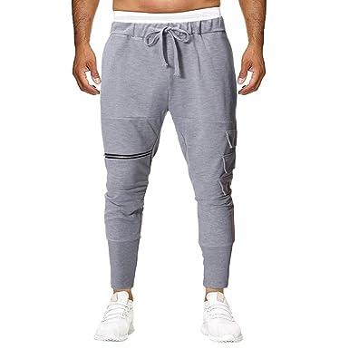 MXJEEIO Pantalones de Hombre Casuales Chino Cinturón de algodón ...