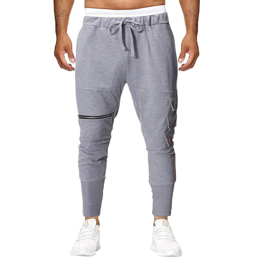 Allywit Men's Casual Baggy Pants Drawstring Cotton Loose Harem Pants Sport Gym Workout Trousers Gray