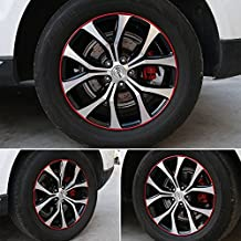 """GOGOLO Universal Car Rim Protector Blade 8 Meter, Anti Scratch Car Wheel Rim Edge Reflective Guard Stripe for All Vehicle Wheels from 16"""" to 23"""", 1 Pack (Red)"""