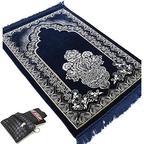 Turkish Large Wide Plush Velvet Prayer Rug Carpet Janamaz Namaz Seccade Floral Arch Free Pocket Mat (Blue)
