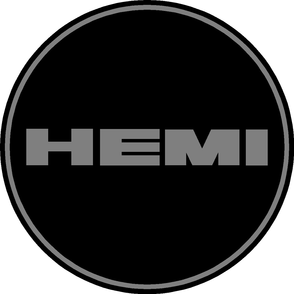 Hemi Black and Gray Replacement Decal Sticker 6 Piece Set 1.75