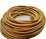 10ft Shinning Dark Golden Round 18/3 Rayon Covered Wire,Antique Industrial Electrical Cloth Cord,Vintage Style Lamp Cord strands UL listed