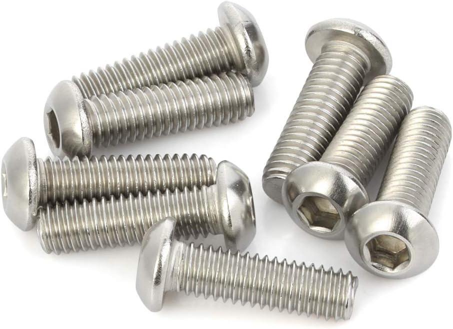 Stainless Steel 18-8 Quantity 25 M6-1.00 x 10MM Button Head Socket Cap Screw Allen Socket Drive Plain Finish