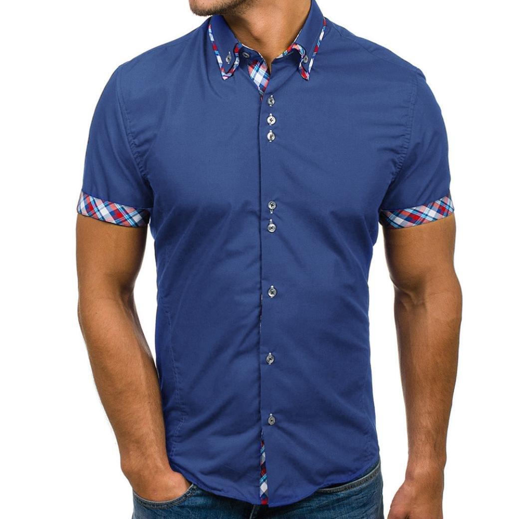 Pervobs Men Shirts, Men's Summer Casual Button Double Collar Slim Patchwork Short Sleeved T-Shirt Top Blouse (3XL, Blue)