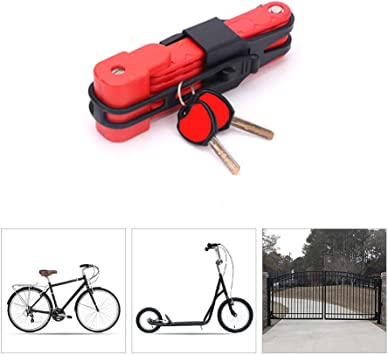 Candados Plegables Candado Bici Candado Bicicleta Alta Seguridad con Abrazadera de Soporte,Impermeable Anti-robo Cadena Bicicleta para Candado Moto y Eléctricos de Bicicleta Scooter etc,Red: Amazon.es: Deportes y aire libre