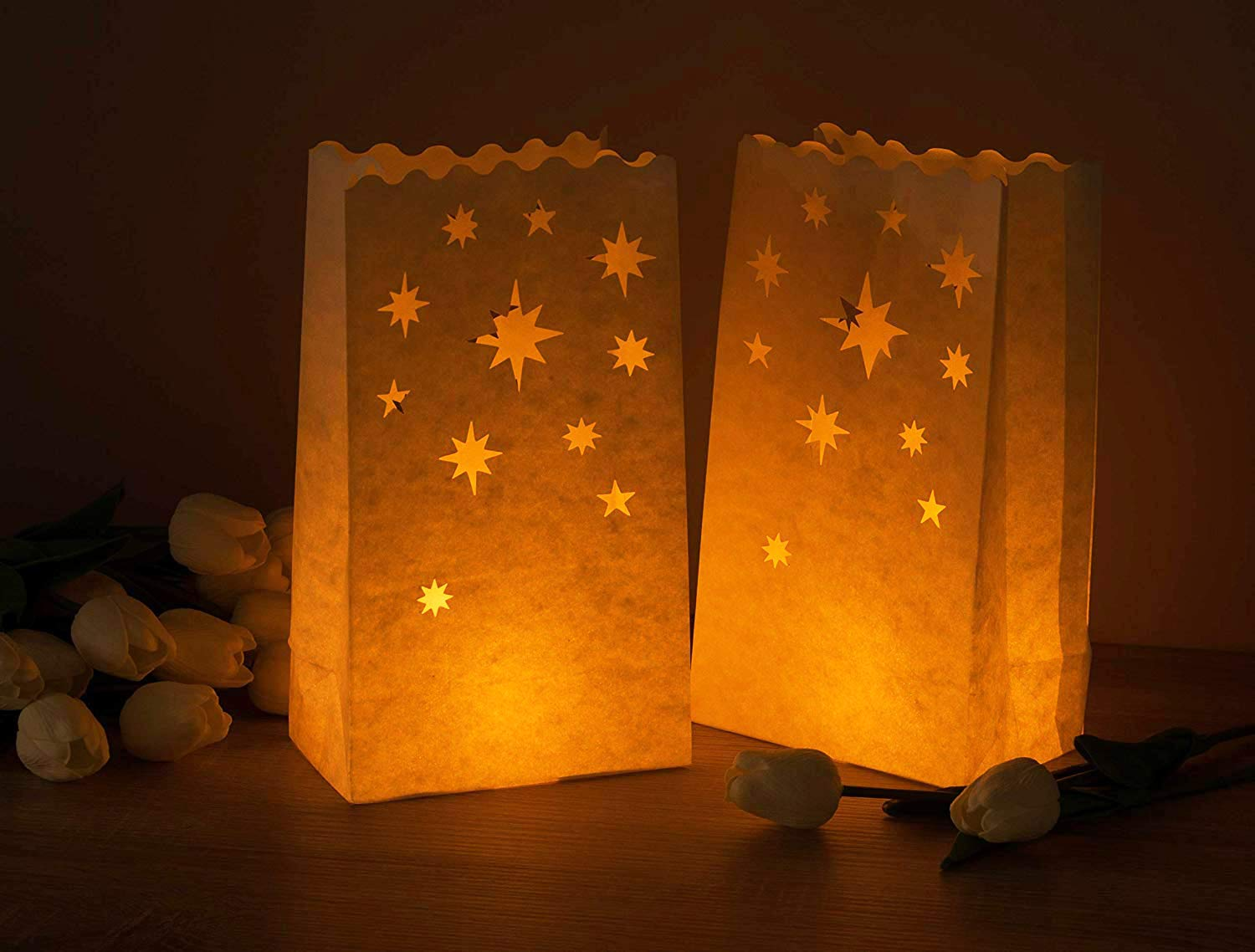 Amazon.com: Bolsas luminarias de papel blanco – Pack de 24 ...