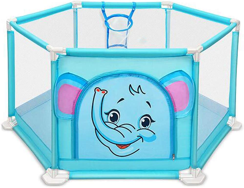 Baby Child Playpen, Kid Play Tent Fence Ball Pit Pool with Basketball Hoop Zippered for Indoor & Outdoor (Blue,Balls not Included)