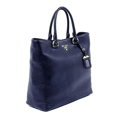 c493a7ae4cd3 Prada Women s Navy Blue Vitello Phenix Leather Shopping Tote 1BG865   Handbags  Amazon.com