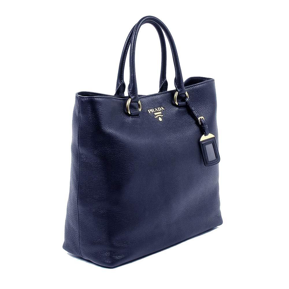 Prada Women's Navy bluee Vitello Phenix Leather Shopping Tote 1BG865