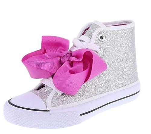 2b8bfaacc7 JoJo Siwa Girls High Top Canvas Glitter Shoe Sneaker Size 13 1 2 3
