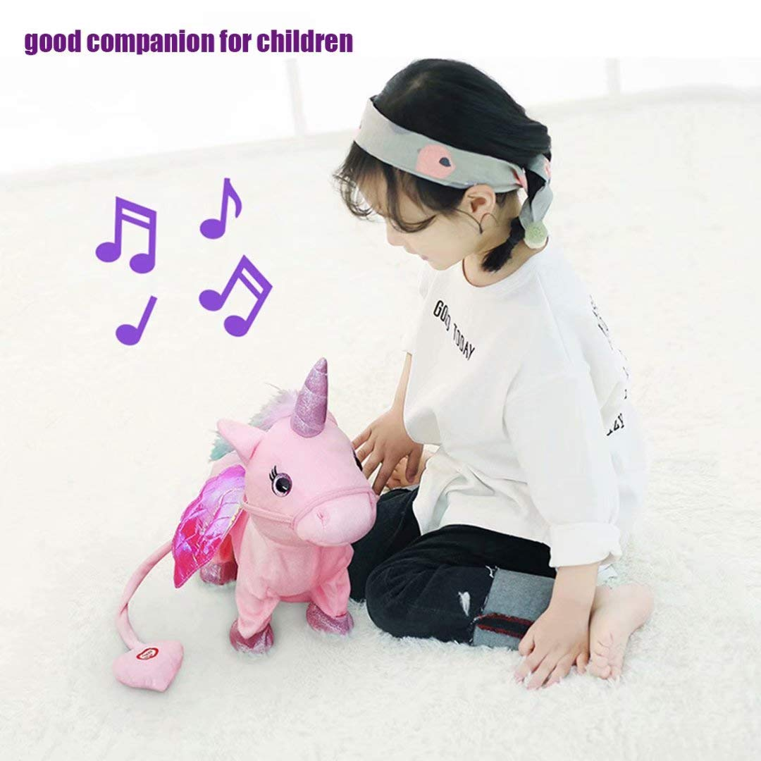qiaoniuniu Electronic Pet Unicorn - Pink Small Pegasus - Stuffed Unicorn ,Singing Walking Musical Cute Plush Toys for Toddlers Girls Boys,Kids & Pets Birthday by qiaoniuniu (Image #7)