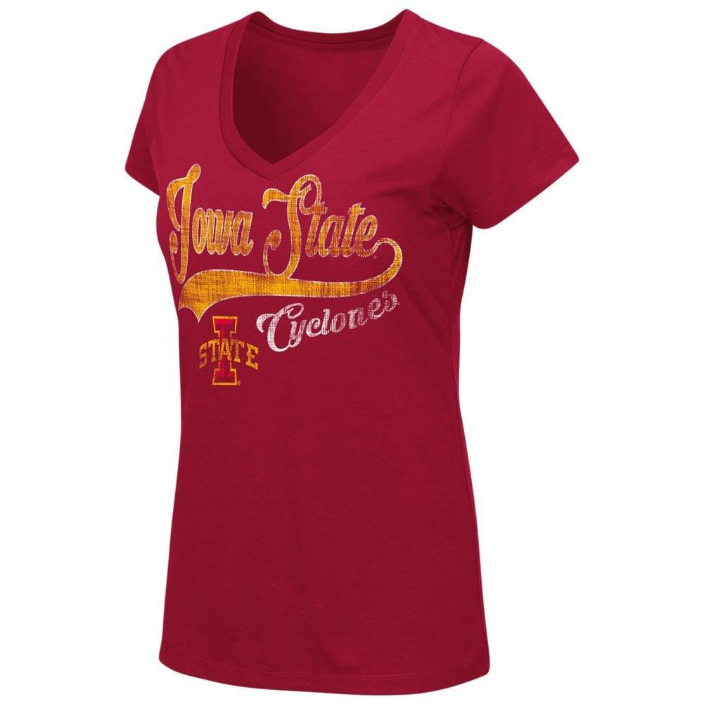 Iowa State CyclonesレディースTシャツ半袖VネックTシャツ Small  B06X6JGYH9