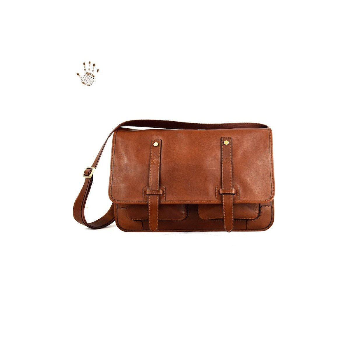 Made In Italy Vegetable Tanned Leather Messenger Bags With Front Pockets Color Brown - Prestige Line   B01LYVFJ88