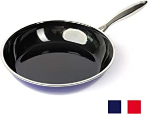 """Non-stick Frying Pan, Titanium-infused Ceramic Coating, Enameled Stainless Steel Skillet Pan/Cookware, Induction Compatible, 9.5"""" (Blue)"""