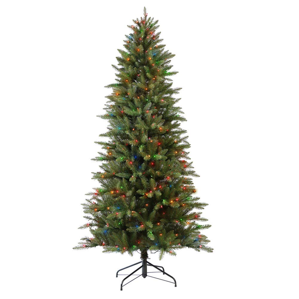 Puleo International 4.5-Foot Pre-Lit Slim Fraser Fir Tree with 150 UL Clear Lights Artificial Christmas 277-FFSL-45C15