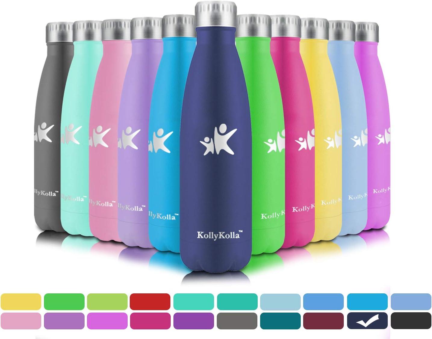 KollyKolla Botella de Agua Acero Inoxidable, Termo Sin BPA Ecológica, Botellas Termica Reutilizable Frascos Térmicos para Niños & Adultos, Deporte, Oficina, Yoga, Ciclismo, (500ml Azul Oscuro)