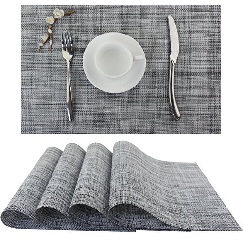 Bright Dream Plastic Outdoor Placemats Washable Stain Resistant Kitchen Table Mats 12×18 inches Set of 4(Dimgray)
