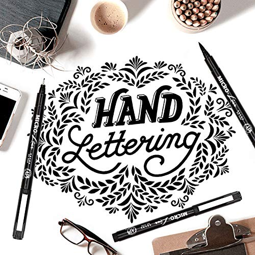 Hand Lettering Pens, Calligraphy Brush Pen, 8 Size Black Markers Set for Artist Sketch, Technical, Beginners Writing, Art Drawings, Signature, Water Color Illustrations, Journaling