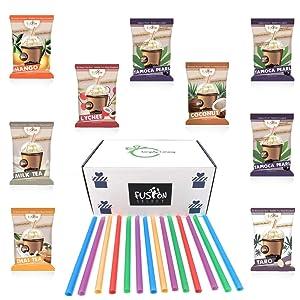 The Ultimate DIY Bubble Tea Kit 6 Flavors of Boba Bubble Tea Drink, 36 Drinks, Taro, Lychee, Coconut, Mango, Milk Tea, Thai Tea Bubble Tea Straws Authentic Bubble Tea Boba Tea Kit Asmr Food