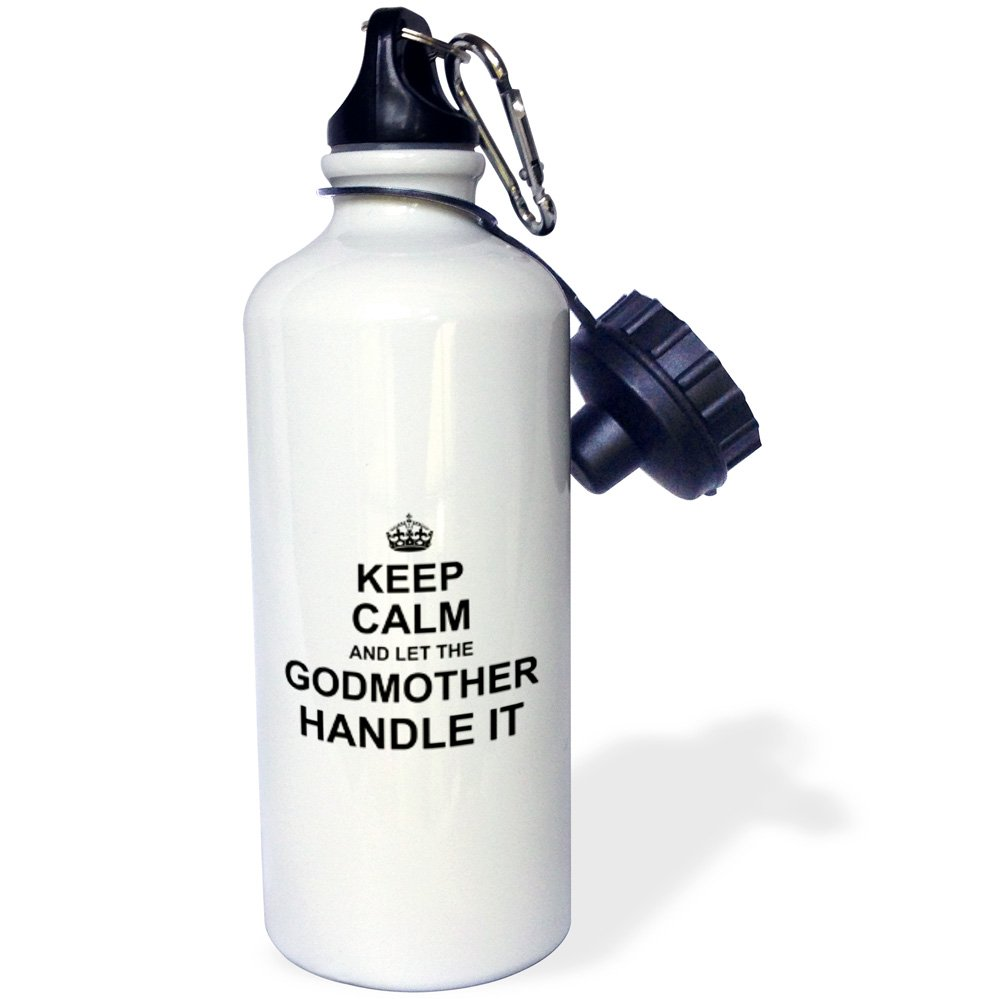 3dRose wb_233082_2 ''Keep Calm and let the Godmother Handle it fun funny godparent gift Flip Straw'' Water Bottle, 21 oz, White