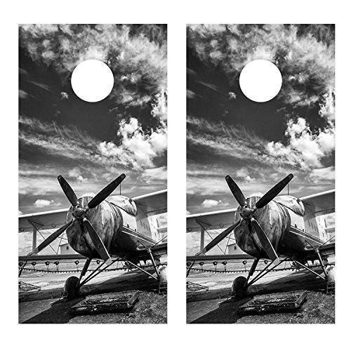 Ag Sprayer Airplane CORNHOLE DECAL WRAP SET Decals Board Boards Vinyl Sticker Stickers Bean Bag Game Wraps Vinyl Graphic Image Corn Hole (Laminated)