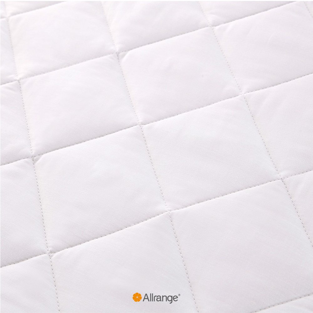 Allrange Breathable Fiber Clean&Safe Quilted Mattress Pad, Coolmax and Cotton Fabric Cover, Snug Fit Stretchy to 18'' Deep Pocket, Polyester Fill, Mattress Protector, Twin