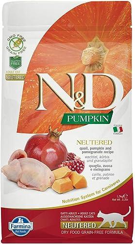 Farmina N D Neutered Cat Grain Free Pumpkin Quail Dry Food 3.3 Pounds