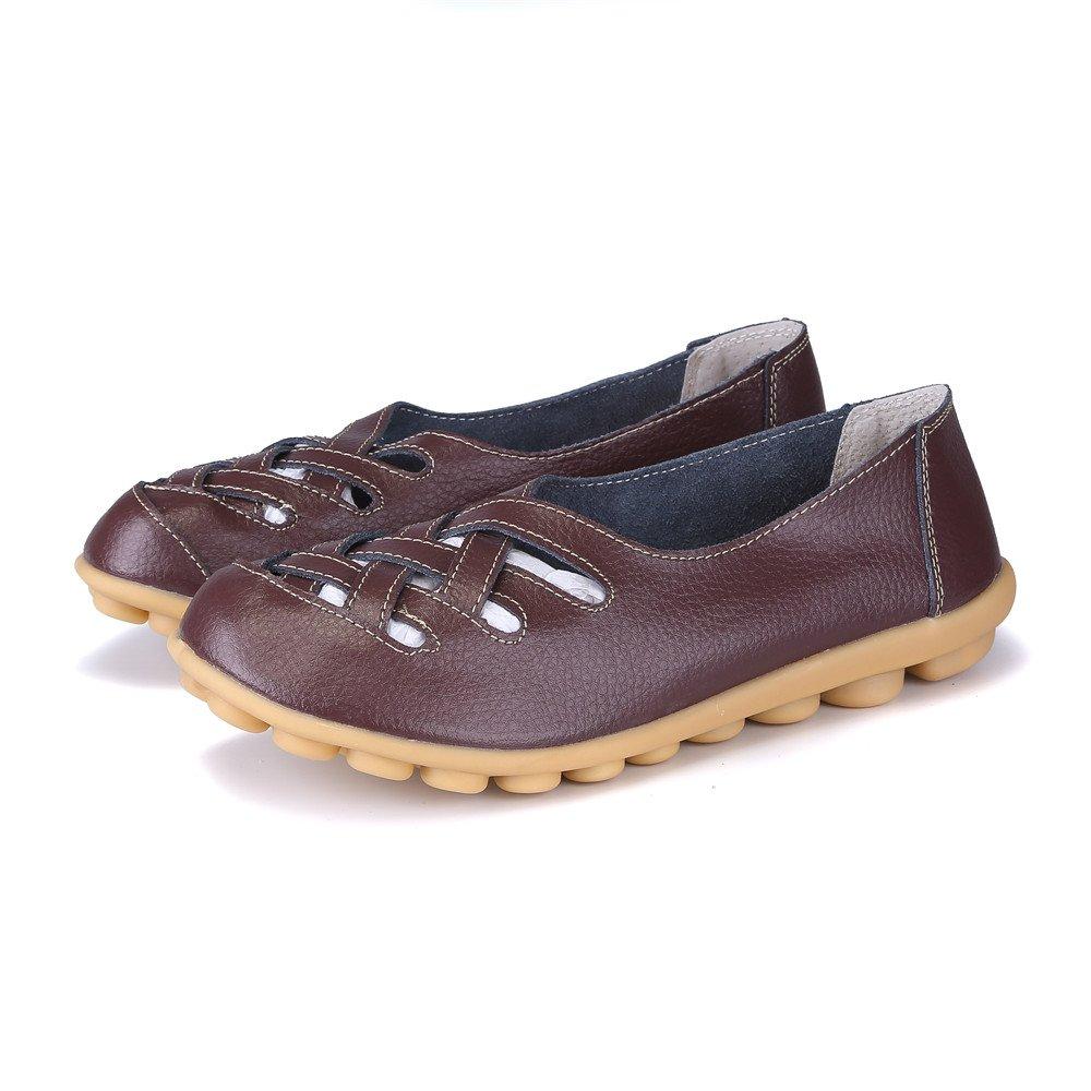 MXTGRUU Women's Leather Casual Slip-ONS Shoes B07DNYNZB2 8.5 B(M) US White-4