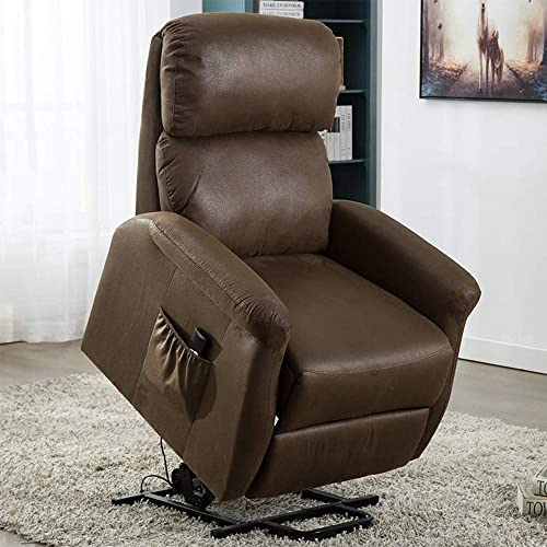 Bonzy Home Power Lift Recliner Chair, 3 Position Side Pocket, Soft Fabric Recliner with Remote, Lift Chair for Elderly, Recliner Chair for Home Theater Seating, Living Room Chocolate