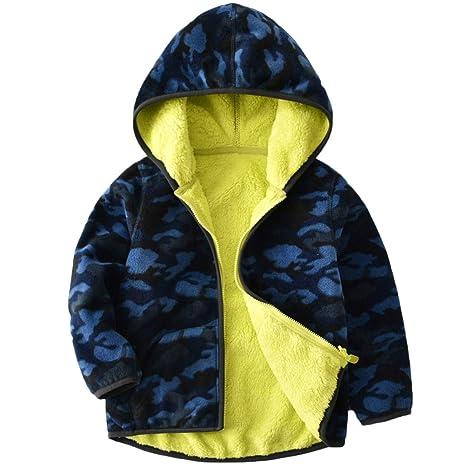 Vine Niños Chaquetas polar Reversible Abrigos con Capucha Fleece Chaquetas Deportivas para 3-4 Años