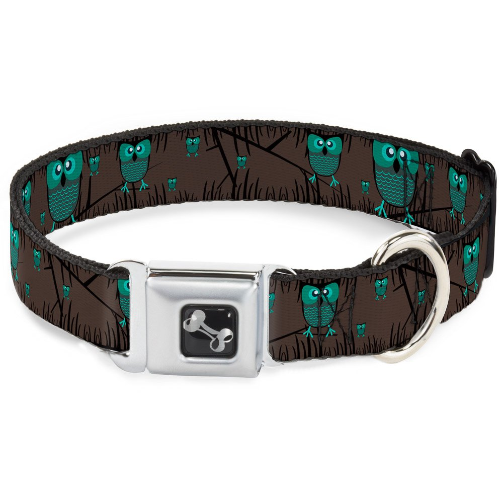 Buckle-Down Seatbelt Buckle Dog Collar Owls in Trees Turquoise 1  Wide Fits 9-15  Neck Small