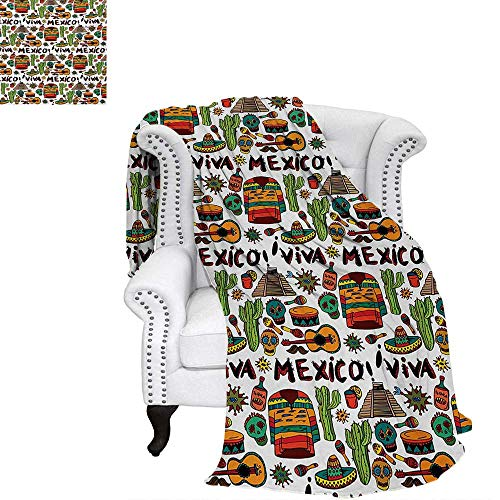 (Mexican Print Artwork Image Viva Mexico with Native Elements Poncho Tequila with Salsa and Hot Peppers Image Warm Microfiber All Season Blanket 60