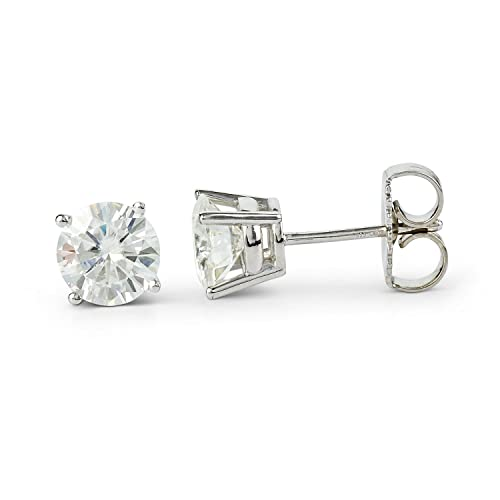 Round Brilliant Cut Moissanite Stud Earrings by Charles Colvard