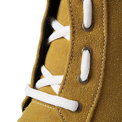 Frosted Womens Top Solid Low Closed Round Yellow AmoonyFashion Toe Boots Heels Low Y4qqd