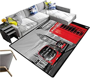 """London Rug Pads London Telephone Booth in The Street Traditional Local Cultural Icon England UK Retro Washable Area Rug Red Grey (5'7""""x6'6"""")"""