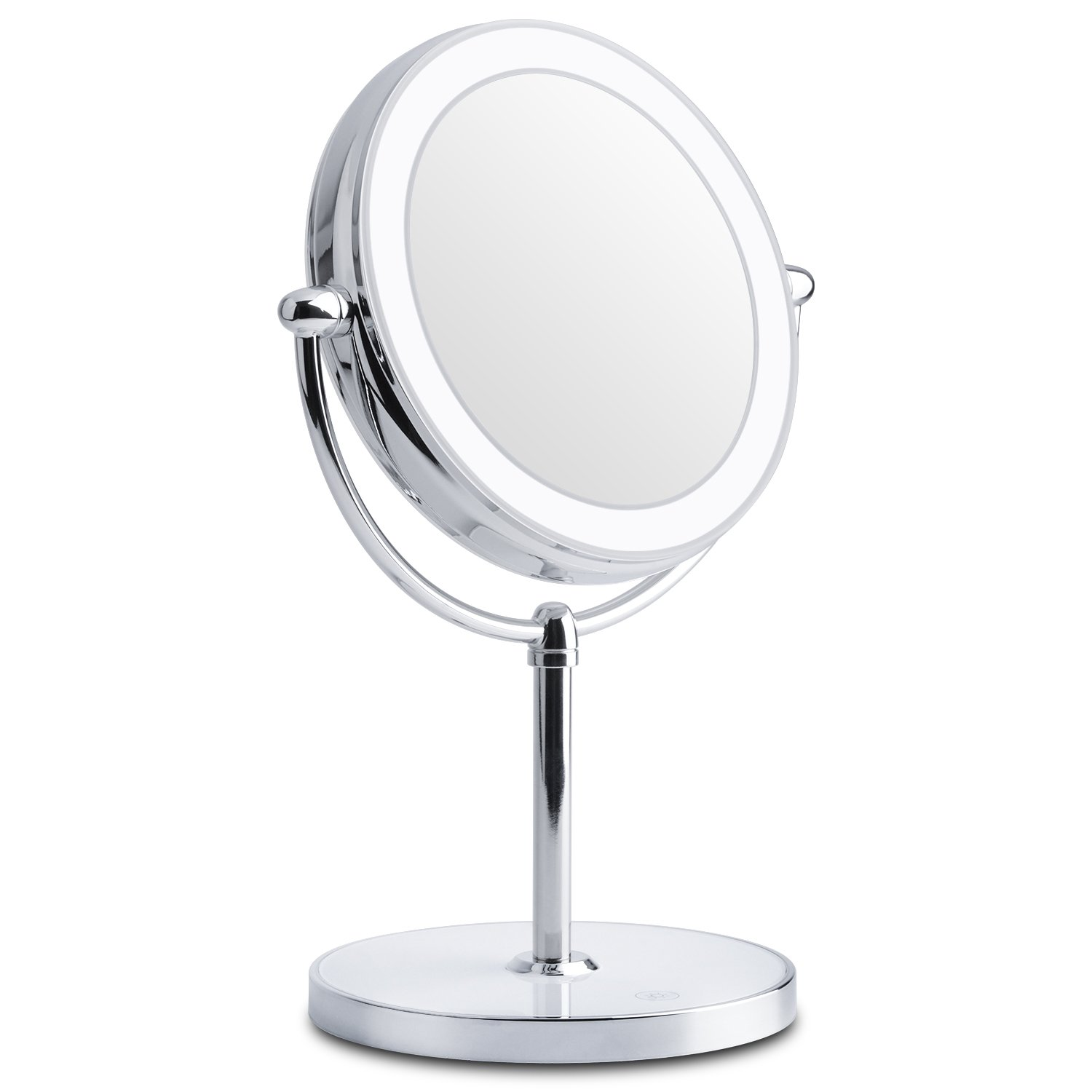 Lighted Makeup Mirror, Double-Sided LED Vanity Makeup Mirror 1x/7x Magnification with Built-in Lithium Battery for Beauty Cosmetic Applying, Rechargeable and Wireless