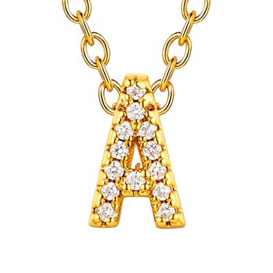 Men/'s Women/'s Shiny Zircon 26 Letter Alphabet Pendant Charm Necklace Chain Bling