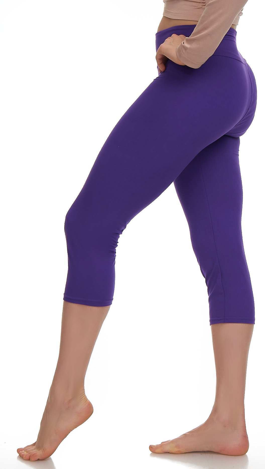 Lush Moda Extra Soft Leggings Variety of ColorsPlus Size Yoga Waist Purple, One Size fits Most (XL 3XL), Purple Yoga Waist by LMB (Image #1)