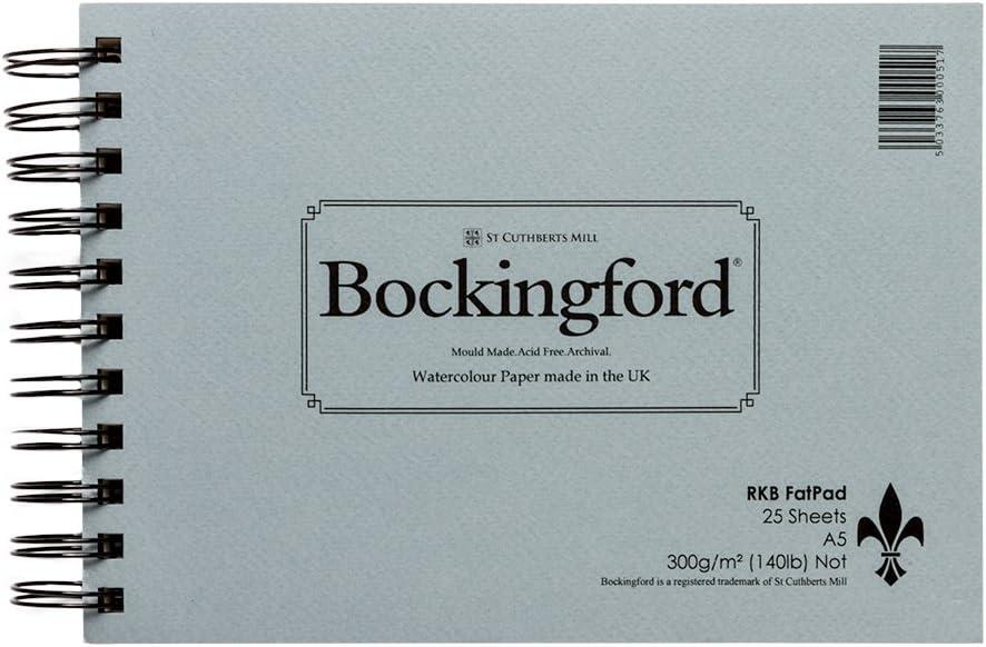 Bockingford Spiral Fat Pad 300gsm A4 25 Sheets Rough