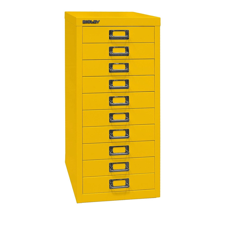 Bisley MultiDrawer, 29er Serie, DIN A4, 10 Schubladen, Metall, 641 Zinkgelb, 38 x 27.9 x 59 cm L2910641
