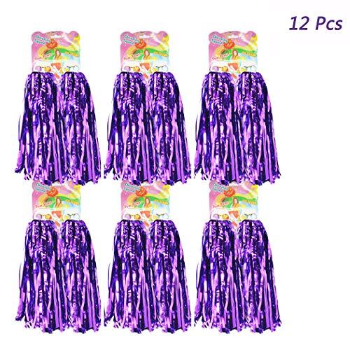 Hatisan 12 Pack Cheerleading Pom Poms, Cheerleader Pompoms Metallic Foil Pom Poms for Sports Team Spirit Cheering Party Dance Useful Accessories (Purple)]()