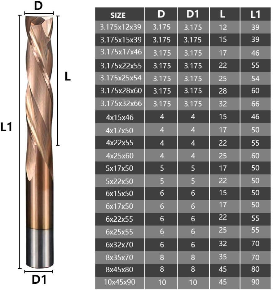 Milling Cutter Up Down Cutter 3.175 4 5 6 8 10mm TiCN Coated 2 Flute Carbide Milling Cutter CNC Router Bit End Mill-8x45x80L 3.175x15x39l
