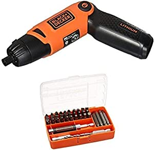 BLACK+DECKER LI2000 3.6-Volt 3-Position Rechargeable Screwdriver w/ 45-Piece Drill and Screw Bit Set