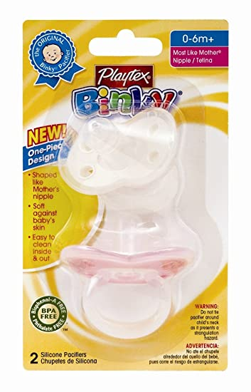 Playtex Binky Silicone Newborn Pacifier - 2 Pack (Colors Vary) (Discontinued by Manufacturer)