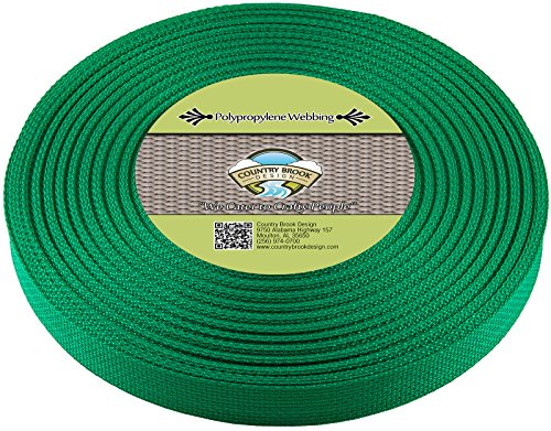 Country Brook Design | Polypropylene Webbing (1 Inch) (Kelly Green, 25 Yards)